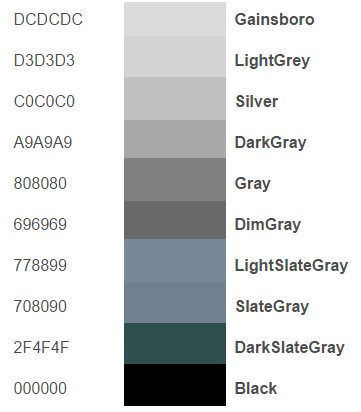 Gray Color Names With Html Codes