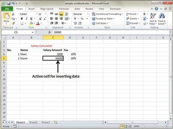 Create a Excel sheet 2