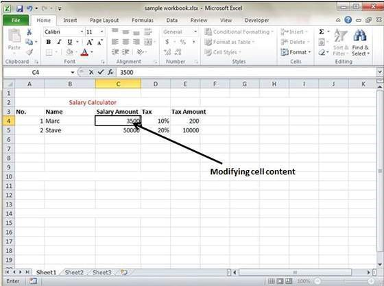 Create a Excel sheet 4