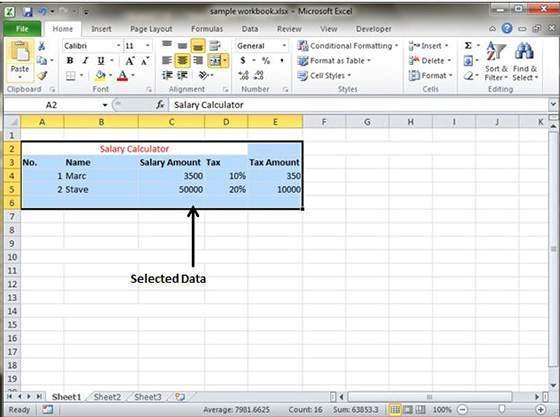 Create a Excel sheet 7